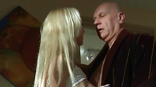 Rich bald geezer fucking his young blonde mistress