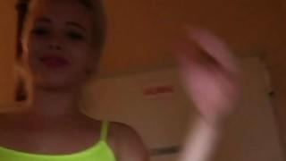 Euro blonde bangs in public hallway