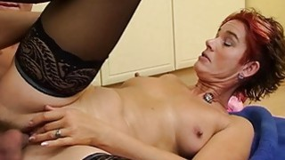 Sexy Mature In Laced Stockings Kitchen Anal Fuck