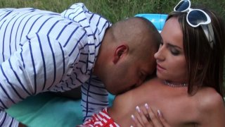 Awesome black head Leyla Black gives a stout blowjob in the woods