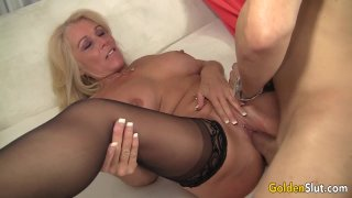 Older Blonde Slut Crystal Taylor Spreads Her Legs for Cock