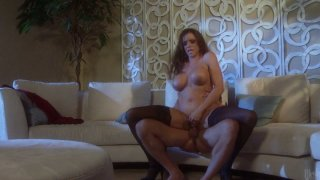 Sexy busty milf Ariella Ferrera gives nice blowjob to handsome mature guy