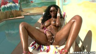 Curly voracious black chick Nyomi Banxxx goes nuts after winning a cock