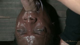 Ugly black chick Ana Foxxx is hung upside down and sucks a cock