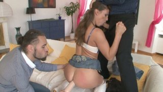 Wild threesome action with beautiful sexpot Betty Saint